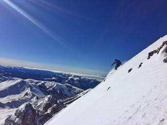 Jon Kedrowski skis down Castle Peak, a 14,000-foot peak southwest of Aspen, this winter during his effort to climb and ski the Colorado peaks higher than 14,000 feet in elevation in one season.