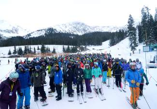 Out in force: The line at Black Mountain Express for Halloween at Arapahoe Basin.