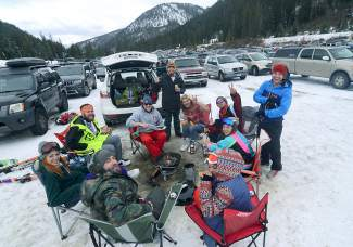The tailgate scene on The Beach at Arapahoe Basin for Halloween.