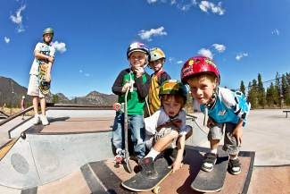 Young skateboarders enjoy the Frisco Adventure Park.