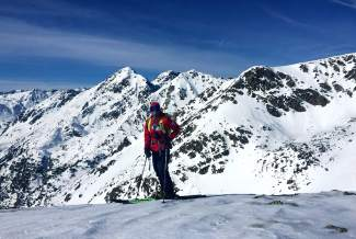 Team Summit's Grifen Moller takes a break during training at Andorra, home to the Freeride Junior World Championships this weekend.