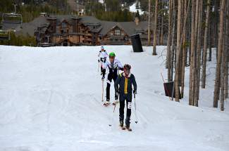 A line of racers skins up the slopes at Breckenridge during the Breck Ascent Series finale last season. The series returns this season on Jan. 13 with a short and long course on Peak 8.