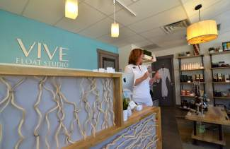 The front lobby and boutique at Vive Float Studio in Frisco, the first mountain studio from owner Andi Sigler. She believes float therapy can boost mental and physical performance for athletes who use it regularly as part of a training regimen.