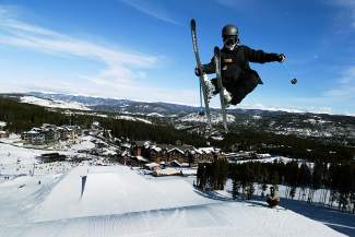 Dillon skier Ethan Swadburg on the big line at Freeway terrain park in Breckenridge.
