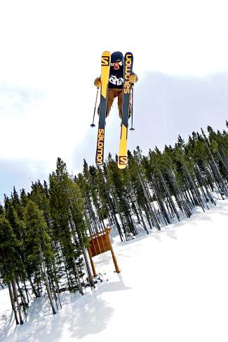 Deven Fagan grabs double nose through the upper Park Lane jump line at Breckenridge. Deven and his twin brother, Kiernan, train almost daily together at Breckenridge before heading to the foam pit and trampolines at Woodward Copper come sundown.