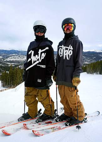 Identical wins Kiernan (left) and Deven Fagan just before dropping into the lower Park Lane jump line at Breckenridge on March 22. The 14-year-old brothers have pushed each other to learn double 1080s this season, propelling Kiernan to first place overall in the 2016 USSA ski big air standings.