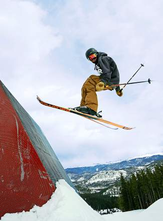 Deven Fagan on the wallride in Park Lane at Breckenridge. At 14 years old, Deven and his identical twin, Kiernan, are leaving a mark on the youth freeski circuit with podium finishes in halfpipe and USSA overall titles for ski big air.
