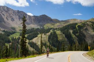 Australia's Lachlan Moore (Jelly Belly-Maxxis) ascends Loveland Pass on a training ride before the USA Pro Challenge. The 2015 race marks the debut of the classic Colorado route, even though it ends short of the summit at Arapahoe Basin.