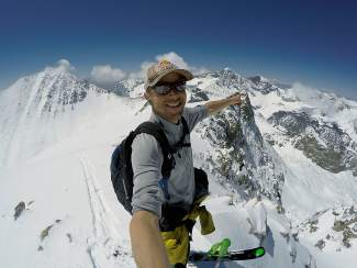 Big-mountain skier Chris Davenport at Huerfano Peak (13,828 feet) on May 8, 2015. He climbed and skied the peak solo to become the 94th descent of his Centennial Peaks project.