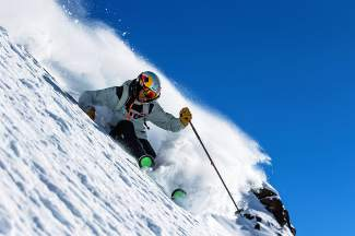 Big-mountain skier Chris Davenport in deep, deep powder at Ski Portillo, Chile in August. Along with filming, Davenport also hosts an annual mid-summer camp in Chile for up-and-coming backcountry skiers.