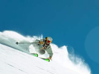 Big-mountain skier Chris Davenport at Ski Portillo, Chile in August.