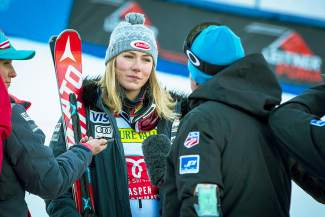 Mikaela Shiffrin of EagleVail talks to television reporters after winning her second consecutive World Cup slalom in Aspen in November. Shiffrin was sidelined for nine weeks after a training accident on Dec. 12, then returned Feb. 15 with a World Cup slalom win.