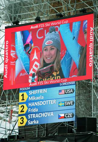 Mikaela Shiffrin beams on the leaderboard after taking first in the World Cup slalom on Nov. 29 in Aspen. The previous day, Shiffrin set a World Cup slalom record by beating second-place finisher Veronika Velez Zuzulova by more than three seconds.