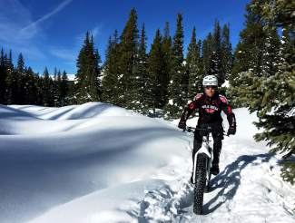 Local mountain biker Jeff Cospolich takes a break on Turks Trail in winter. About 1.5 years ago Cospolich tried fat biking for the first time and is now headed to Crested Butte for the inaugural Fat Bike World Championships from Jan. 27-31.