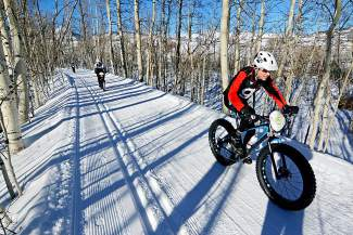 Fat bikers ride along the groomed Nordic trails outside of Crested Butte, home to the inaugural Fat Bike World Championships from Jan. 27-31. The Worlds are an open race and will draw several Summit locals, including Jeff Cospolich.