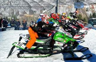 Leadville's Billy Burkhardt (near) gets ready for the starting gun at the X Games Aspen adaptive snocross final on Jan. 28.