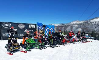 Leadville's Billy Burkhardt (scond from left) gets ready for the starting gun at the X Games Aspen adaptive snocross final on Jan. 28.