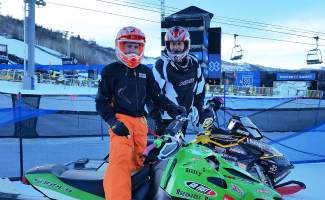 Leadville snocross rider Billy Burkhardt (left) with fellow adaptive rider EJ Polawski, who took bronze in the adaptive snocross race at X Games Aspen on Jan. 28. Burkhardt learned he was qualified for the event less than a week before racing.
