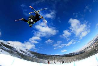 Jaxin Hoerter of Breckenridge floats over the deck during a training run at Aspen earlier this season. The 15-year-old recently earned his first invite to an X Games competition and is now in Oslo for the ski superpipe on Feb. 28.