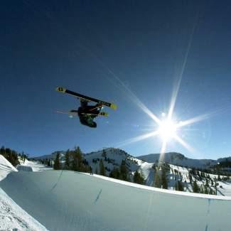 Jaxin Hoerter takes a practice run under bluebird skis before heading to Oslo, Norway for the European X Games this week. Hoerter earned his first invite to the X Games about two weeks before boarding a plane to Norway.