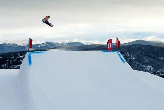 Germany's Silvia Mittermuller training in the Breckenridge terrain park. Since 2012, Mittermuller has been based in Breck every winter between international travel for competitions.
