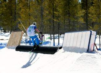A skier stalls out on the wall at the CMC Cloud City Rail Jam in 2015 at the Colorado Mountain College campus in Leadville. The event returns this weekend on March 26 with divisions for groms and adults at $10 apiece.