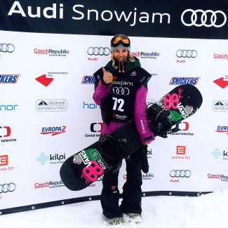 Germany's Silvia Mittermuller after winning the country's first-ever World Cup gold at a slopestyle event in Spindleruv Mlyn, Czech Republic from March 18-20.