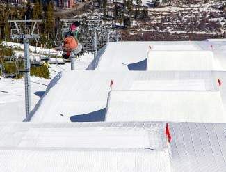 Germany's Silvia Mittermuller, 30, practices in the jump line before a slopestyle event earlier this season.