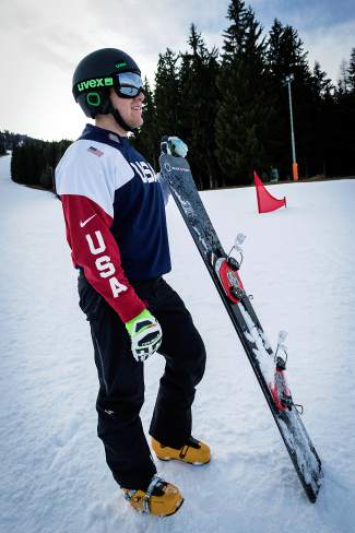 U.S. Snowboard team member AJ Muss on the slalom course. Muss is one of the youngest members of the national slalom snowboarding team, which is currently fighting to keep its sport on the Olympic roster for the 2018 Games in PyeongChang, South Korea.