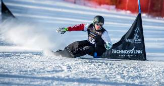 American slalom snowboarder AJ Muss at a race earlier this season. Muss is in Summit County this week for the USASA National Championship slalom and giant slalom races.