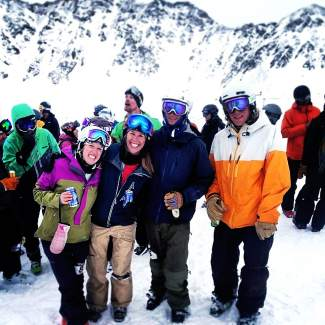 Local skiers Whitney Henceroth (far left) and Linsey Hempel (second from left) with friends at the top of the Pallavicini Chair above Arapahoe Basin after the annual Enduro challenge in 2015. The Hempel-Henceroth duo tied the women's team record at 64 laps in 10 hours on the ski area's most famous two-chair.