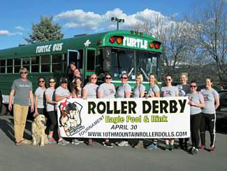 The 10th Mountain Roller Dolls will charter a party bus for the Melee in the Mountains tournament, held Saturday, April 30 in Eagle. The bus leaves the Vail Transportation Center shortly before the doors open at 10 a.m.