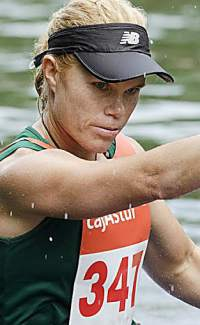 Former pro kayaker Michele Eray. The South African native is currently working with Team USA kayaker Maggie Hogan to fine-tune her technique before the 2016 Olympic Games in Rio de Janeiro.