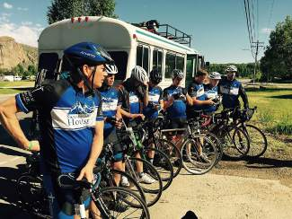 Cyclists with Team Samaritan House get ready to take off on the first leg of the 2015 Ride the Rockies event, a seven-day bike tour through the Rockies. Schwein and his team ride through Summit County June 13-15 with hundreds of riders in the annual tour.