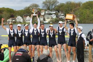 Summit's Austin Velte (left center, with trophy) celebrates with his crew from the Yale University rowing team after winning the Ivy League Cup on May 15 in Worcester, Massachusetts. Yale beat heavyweights like Princeton, Brown and Cornell in the lightweight and heavyweight divisions to sweep the Cup.