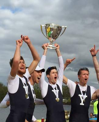 Part-time Summit County resident Austin Velte (with trophy) celebrates after winning the Ivy League Championships with the rowing team from Yale. The senior captain helped lead his team to the first Cup victory since 2002.