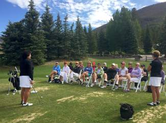 Nancy Lopez (far left) with a group of women at her Nancy Lopez Golf Adventures clinic in Keystone last year. Lopez returns to The Ranch Course at Keystone for the clinic series from July 7-9.
