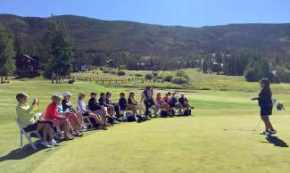 Former LPGA pro Nancy Lopez (far right) speaks with a group during one of her women's-only clinics at Keystone last year. Lopez returns this summer with a women's and men's clinic series from July 7-9 at The Ranch Course in Keystone.