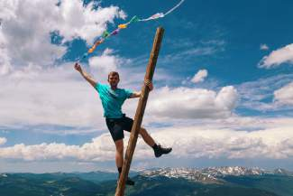Boston's Bobby Moakley celebrates on top of Copper Mountain during the No Barriers Summit from June 23-26. The college sophomore returns to Colorado as keynote speaker for the No Barriers