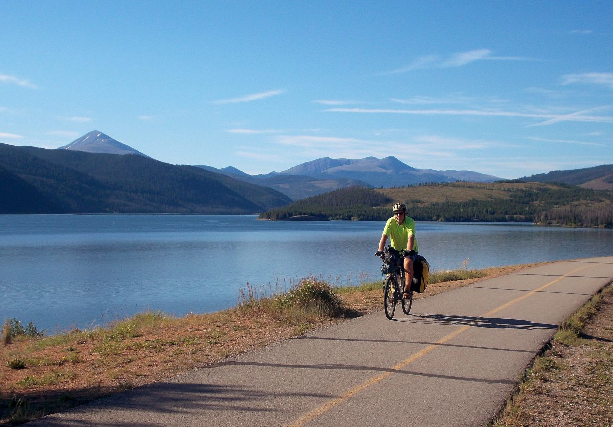 TJ Forrester pedals along Lake Dillon over the weekend.