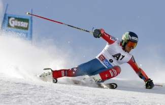 Ted Ligety, of the United States, competes during the first run of an alpine ski, men's World Cup giant slalom in Soelden, Austria, Sunday, Oct. 25, 2015. (AP Photo/Marco Trovati)