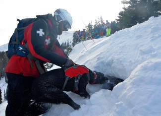 Copper Mountain ski patroller Matt Brooks works with Baloo, one of the resort's avalanche dogs, to