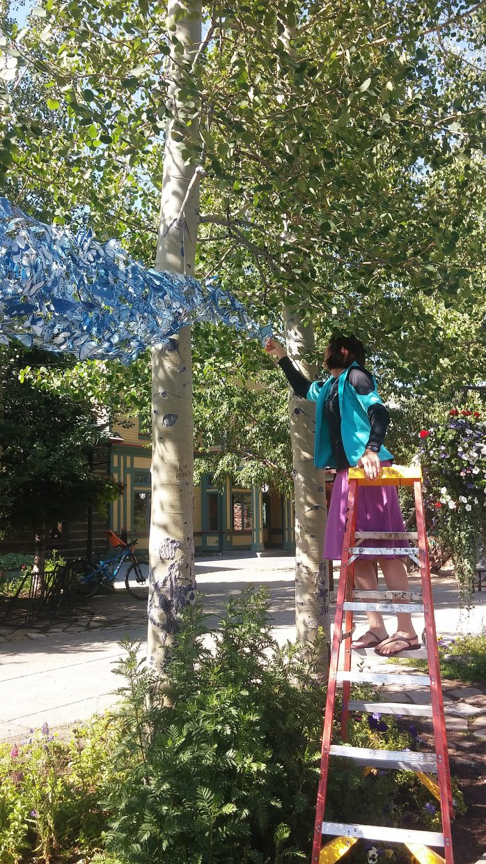 The Swarm art installation by Tasha Lewis is moved around town throughout the 10 days of the  Breckenridge International Festival of Arts (BIFA). Lewis' ephemeral installations consist of thousands of cyanotype butterflies printed on fabric and embedded with magnets, invading metallic surfaces around Breckenridge. BIFA is a celebration of adventure, play and creativity running from Aug. 12–21.