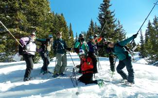 The Backcountry Babes strike a pose on the way to Mount Baldy near Breckenridge for in-field instructors about avalanche and backcountry safety.