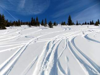 Powder turns on Mount Baldy, found just east of Breckenridge. The relatively mellow backcountry area is home to avalanche and safety clinics for the Backcountry Babes group.