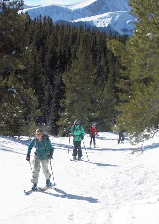 The Backcountry Babes group skins up the trail to Mount Baldy outside of Breckenridge in early January. The organization hosts clinics throughout the winter, including a coed Avalanche Level 1 course from Jan. 12-14.