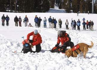 A-Basin ski patrollers and a rescue dog take part in a recent Beacon Bowl at Arapahoe Basin Ski Resort.