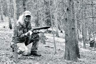 The author in the field on her first-ever bow hunting trip.