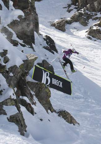 A skier airs off a cliff drop during the 2015 GoPro Big Mountain Challenge junior regional at Breckenridge. The event returns to Peak 6 this weekend with 170 athletes from across the region.
