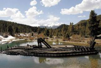 Remains of the dredge boat along Tiger Road north of Breckenridge, found at the Horshoe Gulch/Tiger Dredge trailhead leading to Blair Witch.